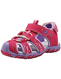 Apakowa Kids Girls Soft Sole Closed Toe Sandals Summer Shoes with Arch Support (Toddler/Little Kid)