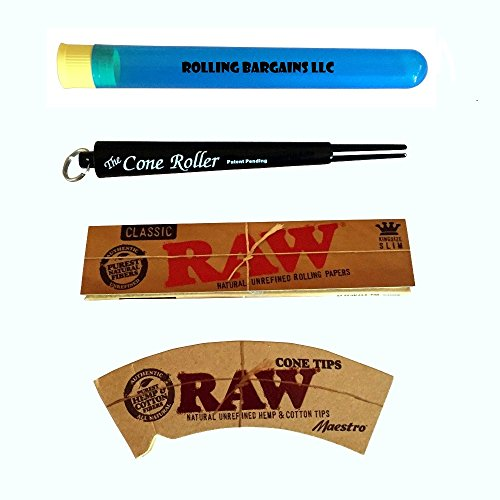 The Cone Roller & Raw King Rolling Paper & Hemp Coned Filter Tips W (BLACK)