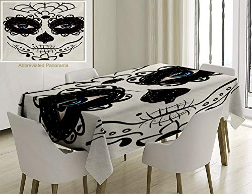 Unique Custom Cotton And Linen Blend Tablecloth Day Of The Dead Decor Dia De Los Muertos Sugar Skull Girl Face With Mask Make Up Black White And BlueTablecovers For Rectangle Tables, 70 x 52 Inches -