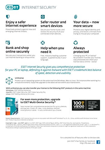 ESET Internet Security 2019 version, 5 Devices with 2 5 Year's