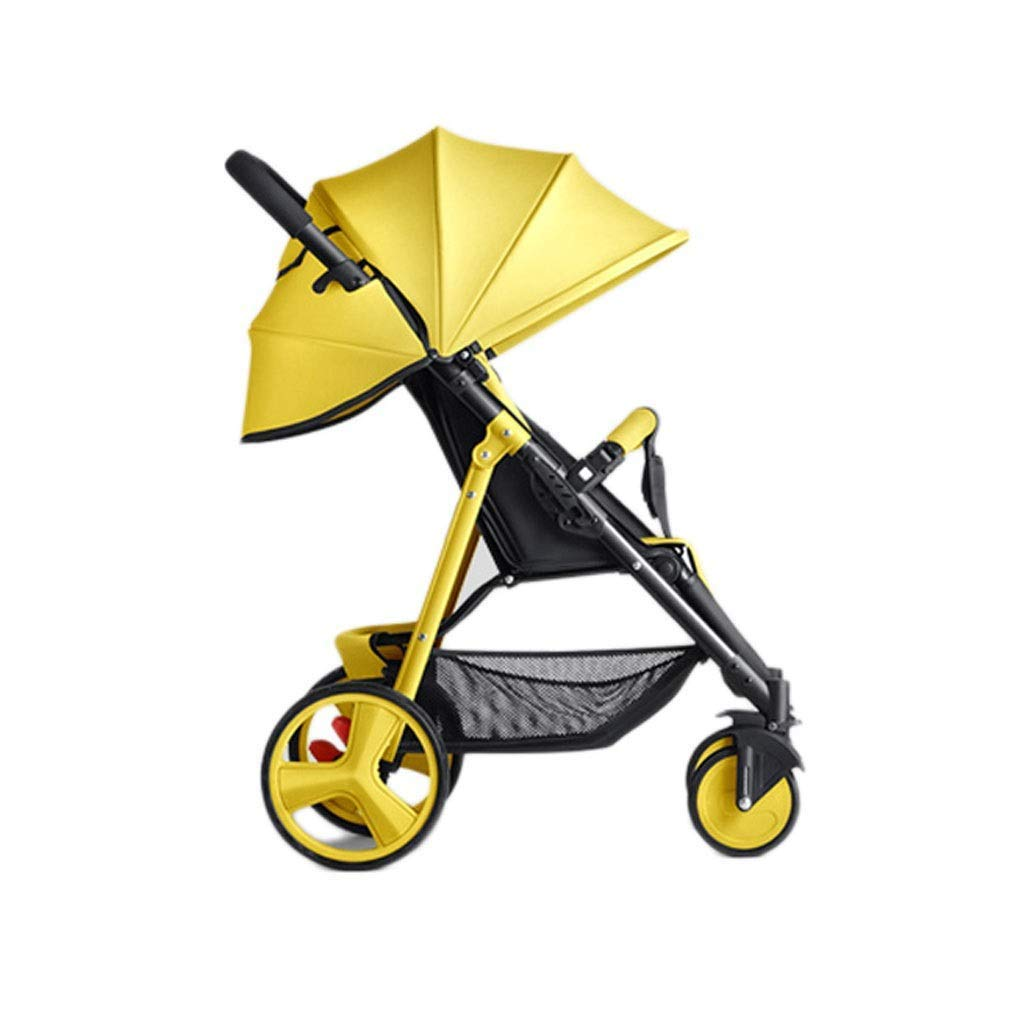 LLYU Comfortable Pushchair Easy Newborn Children Can Sit Lying Pushchairs Shock Absorbers One-Click Folding Pushchairs Prams Portable Strollers Buggies (Color : Yellow)