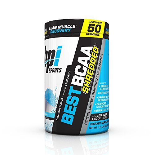 BPI Sports Best BCAA Shredded Caffeine Free Thermogenic Recovery Formula for Lean Muscle Growth, Snow Cone, 50 servings