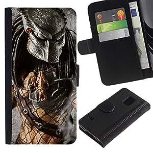 Protector de cuero de la PU de la cubierta del estilo de la carpeta del tirón BY RAYDREAMMM - Samsung Galaxy S5 V SM-G900 - Guerrero Preditor