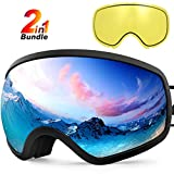 ZIONOR X10 Ski Snowboard Snow Goggles OTG for Men Women Youth Anti-Fog UV Protection Helmet Compatible (VLT 18.5% Black Frame Silver Lens Plus VLT 54% Yellow Lens)