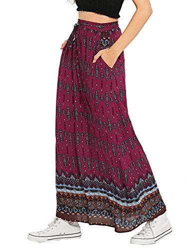 Milumia Women's Boho Vintage Print Pockets A Line Maxi Skirt Medium Red