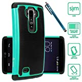 LG G Flex 2 Case, Style4U Dual Layer Hybrid Armor Protective Case Cover for LG G Flex 2 (2015 Release) with 1 Stylus [Teal]