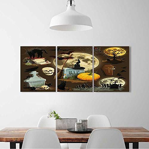 L-QN 3 Pieces Multiple Pictures Wall Art Frameless Clip art s Halloween celebration perfect wall decoration W32 x H48 x 3pcs ()