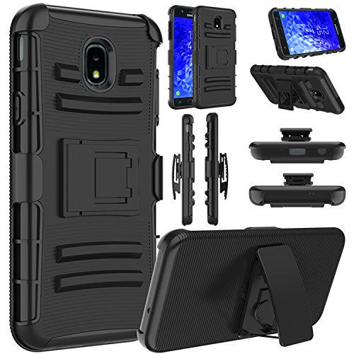 Galaxy J7 2018 Case, Galaxy J7 Star / J7 Refine / J7 Crown Case, Elegant Choise Hybrid Heavy Duty Shockproof Rugged Holster Protective Case with Kickstand and Belt Clip for Samsung J7 2018 (Black)