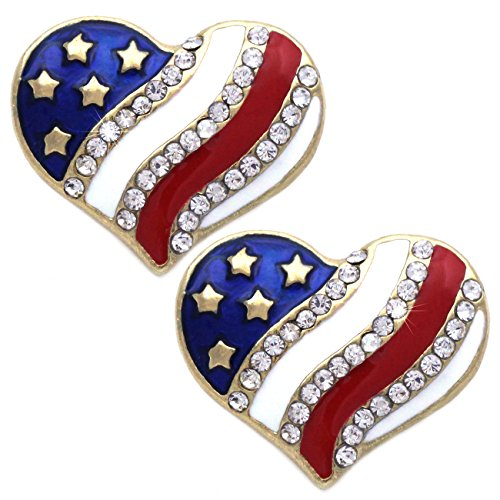 """4th of July USA American Flag Patriotic Red Blue Heart Earrings Jewelry (Heart Stud Gold-tone 3/4"""")"""