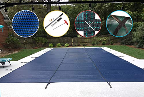 Water Warden Safety Pool Cover For 12' X 24' in Ground Pool, Blue Mesh