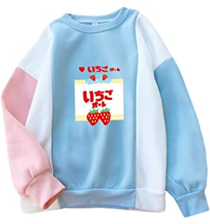 Fashionoly Strawberry Milk Kawaii Sweet Cute Girls Block Hoodies Loose Fleece Blue Sweatshirts