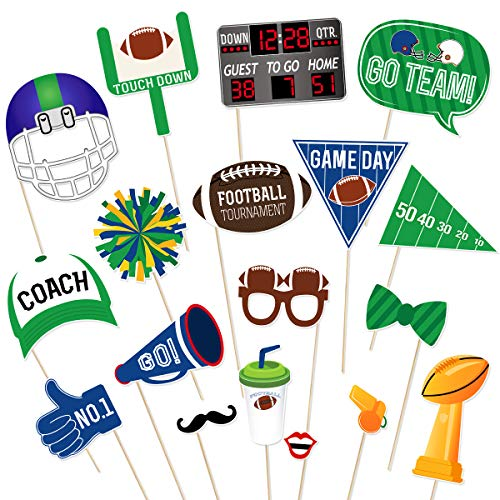 Bowl Experience Nfl Super (Amosfun Super Bowl Photo Booth Props with Bamboo Sticks Sports Creative NFL Party Decoration Supplies,Pack of 18)