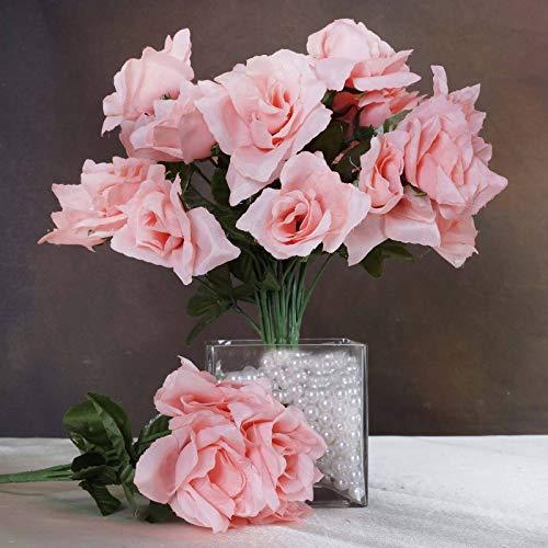 Efavormart 84 Artificial Open Roses for DIY Wedding Bouquets Centerpieces Arrangements Party Home Wholesale Supplies - Peach