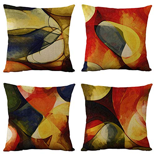 WOMHOPE Set of 4 Vintage Geometric Decorative Throw Pillow Covers Pillow Cases Cushion Cases 18 x 18 Inch for Living Room,Couch and Bed (Orange)