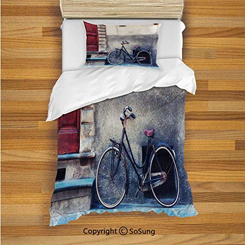 - Bicycle Kids Duvet Cover Set Twin Size, Vintage Bicycle Leans on City Walls Modern Urban Regular Transportation Vehicle Image 2 Piece Bedding Set with 1 Pillow Sham,Multi