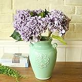 YSBER 3 Big Heads Artificial Hydrangea Silk Fake Flowers Bunch Bouquet Home Hotel Wedding Party Centerpieces Garden Floral Decor(Purple)