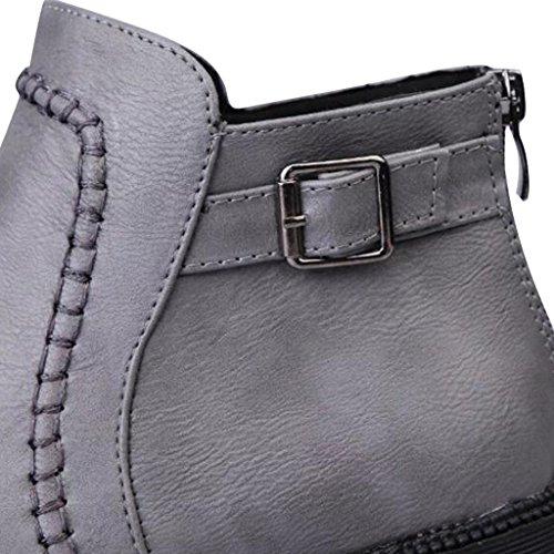 Dear Time Women Zipper Belt Buckle Decorated Ankle Boots Grey RGYfXoeAf
