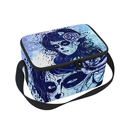 Sugar Skull Dia De Los Muertos Insulated Lunch Bag Box Cooler Bag Reusable Tote Bag Outdoor Travel Picnic Bags