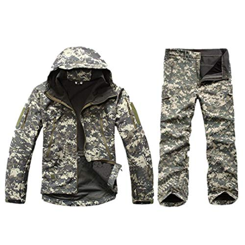FieldShuFu Tactical Gear Softshell Camouflage Jacket Men Army Waterproof Warm Camo Clothes Windbreaker Fleece Coat Military Jacket ACU XXXL