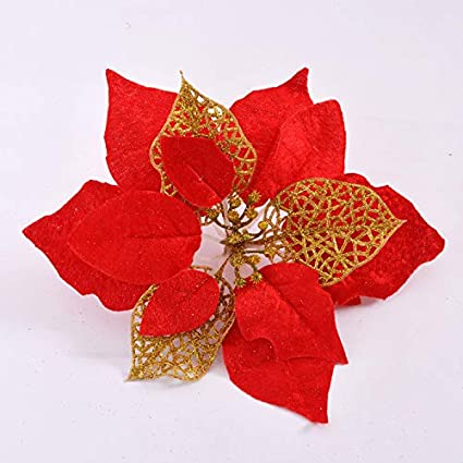 Christmas Flower Decorations.Amazon Com Lyfwl 6 More Flower Velvet Christmas Flower Red