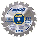 IRWIN Tools MARATHON Carbide Cordless Circular Saw Blade, 5 3/8-Inch, 18T Carded (14015)