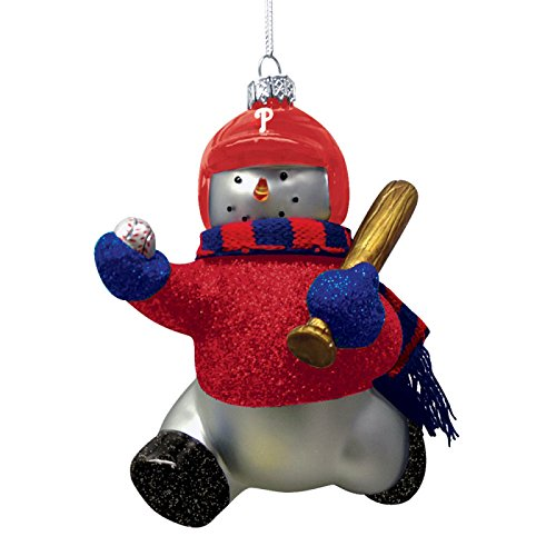 MLB Blown Glass Snowman Player Ornament MLB Team: Philadelphia Phillies