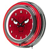 Trademark Gameroom NBA1400-CB3 NBA Chrome Double Rung Neon Clock - City - Chicago Bulls