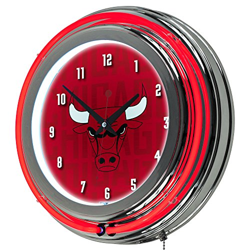Trademark Gameroom NBA1400-CB3 NBA Chrome Double Rung Neon Clock - City - Chicago Bulls by Trademark Global