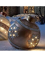 Domybet Kerstbal, groot, opblaasbaar, kerstdecoratie, opblaasbaar, van PVC, bal, decoratie, opblaasbaar, Kerstmis, met pomp, decoratie, opblaasbaar, voor buiten, tuin, binnenplaats, 60 cm