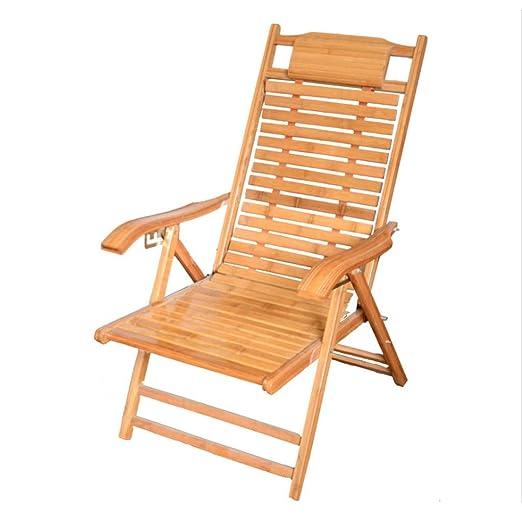 Zcyg Tumbona Silla ergonómica Plegable de bambú Lounge Sun ...