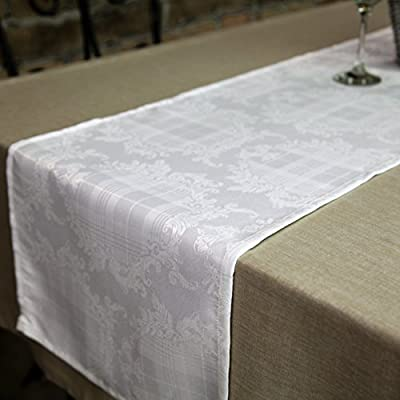 "AHOLTA DESIGN Stain Resistant White Table Runner Polyester Table Linen - Rectangular Washes Easily Non Iron - Thanksgiving Christmas New Year Eve Dinner Wedding (White, Tablerunner 14""x48"") - UNIQUE AND ELEGANT DESIGN:Thesebeautiful tablecloths and table runners come in elegant white so that theywill suit any space and style. The table linens have a unique combination of floral and geometric patterns that are incredibly chic and discreet so that they can be perfect for everyone! IDEAL FOR EVERY OCCASION:The table cover will be an amazing addition to every event decoration and every family dinner. Use these amazing table linens for weddings, Thanksgiving, X-mas, New Year Eve, parties or holiday dinners. The white tablecloth will look amazing on your Christmas or Thanksgiving dinner table! INCREDIBLY EASY TO CARE:Forget about the table runner that get stains all over and look like a mess! Thistablecloth is made with stain resistant fabric and it is incredibly easy to wash and takecare of. And no need to worry about ironing! These tablecloths will always look flawless without any ironing! - table-runners, kitchen-dining-room-table-linens, kitchen-dining-room - 51mUHIRLMWL. SS400  -"