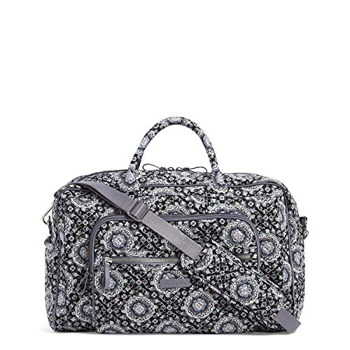 Vera Bradley Iconic Compact Weekender Travel Bag, Signature Cotton, Charcoal Medallion