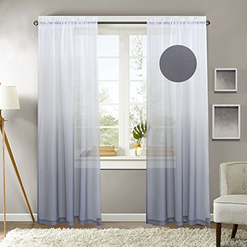 GYROHOME Polyester Sheer Curtain Energy Saving Privacy Protection Rod Pocket Window Curtain Home Decorative, Sold in Pair(2 Panels)