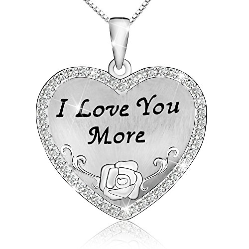 Flashing God I Love You More Necklace 925 Sterling Silver Love Heart Pendant Retro Classic Style ()