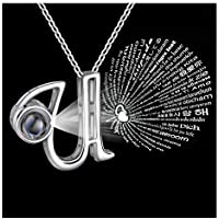Forevereally 100 Languages Initial Necklace Personalized for Women Girls for Free
