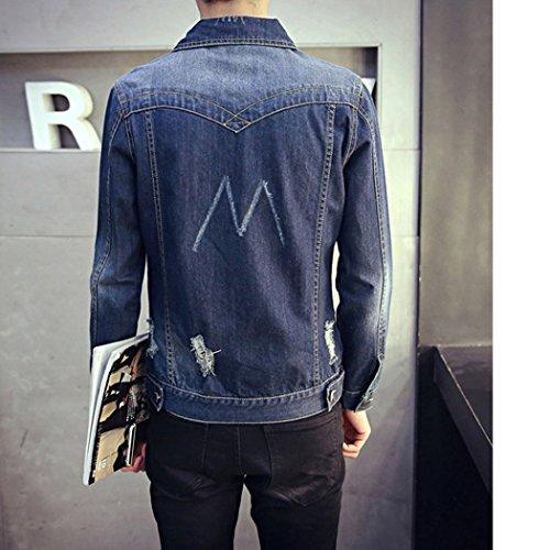 BININBOX Herren Jungen Jeansjacke mit Umlegkragen Loch Mantel Coat