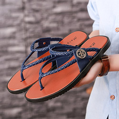 Xing Lin Flip Flop De La Playa Nueva Flip Flops _ Nuevos Hombres Sandalias Sandalias Zapatillas Arrastrar-Tipo De Goma De Moda blue