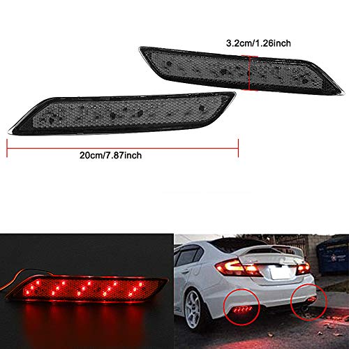 VOFONO for 2013-2015 9th Gen Honda Civic Sedan ONLY(Does not fit The Coupe) Smoke Len LED Rear Bumper Reflector Marker Tail Brake Fog Lights