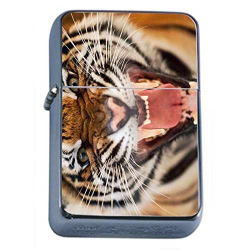 (Tiger Flip Top Oil Lighter Em1 Smoking Cigarette Silver Case Included)