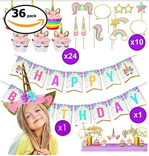 TruMyth Unicorn Party Supplies, Girls Happy Birthday Kit Decorations and Party Favors