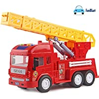 FunBlast Pull Back Vehicles Fire Rescue Truck, Friction Power Toy Trucks for 3+ Years Old Boys and Girls, Light & Sound Toy for Kids.