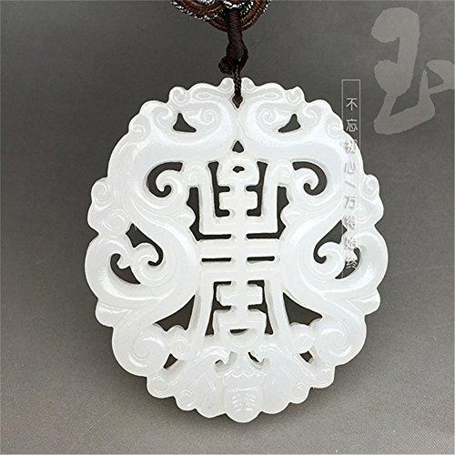 Longevity Jade Pendant Natural (Natural Afghanistan White Jade longevity Pendant include Handmade Rope Chain)
