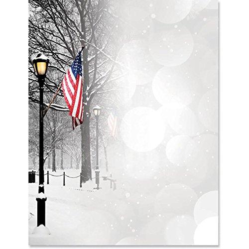 Patriotic Park Winter Scene Border Papers, 8.5 x 11, 50 Count