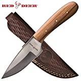 Cheap Red Deer 7.5″ Full Tang Light Pakka Wood Hunting Knife with Leather Sheath
