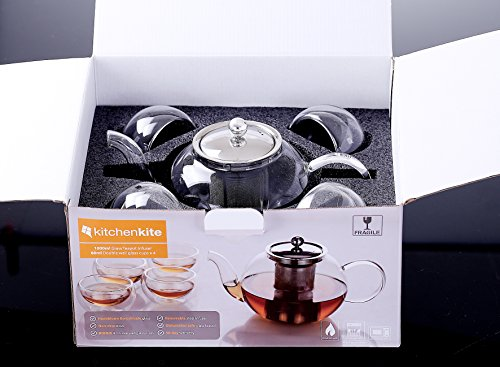 Stovetop Safe Tea Kettle, Holds 4-6 Cups, Glass Teapot with Infuser Set, Extra 4 Double Wall 80ml Cups, Removable Stainless Steel Strainer, Microwave, Dishwasher Safe, Blooming & Loose Leaf Tea Pot by Kitchen Kite (Image #8)