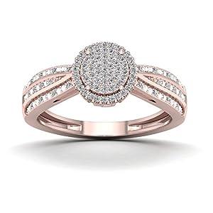 De Couer 10K Rose Gold 1/5ct TDW Diamond Halo Cluster Engagement Ring (H I, I2)