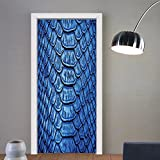 Gzhihine custom made 3d door stickers Animal Print Decor Collection Colored Snake Skin Pattern Alligator Fancy Luxury Leather Clothing Artwork Home Decor Blue For Room Decor 30x79