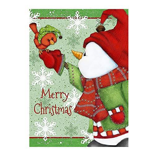 Merry Christmas Snowman Snowflake Birds Double Sided Garden Yard Flag 12