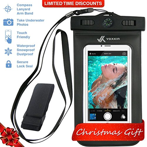 Voxkin Premium Quality Universal Waterproof Case with Armband, Compass, Lanyard - Best Water Proof, Dustproof, Snowproof Pouch Bag for iPhone 7, 6S, 6, Plus, 5S, Samsung Galaxy Phone S7, S6 (Iphone 5c Diving Case)