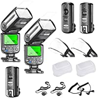 Neewer NW565EX E-TTL LCD Display HSS Slave Flash Speedlite Kit for Canon DSLR Camera,include:(2)NW565C Flash+(1)2.4GHz 3-in-1 Wireless Trigger+(2)Soft&Hard Diffuser+C1/C3 Cable+(2)Lens Cap Holder